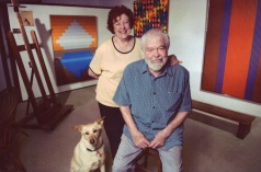 Beverly and Karl Benjamin with Mischa in the studio in Claremont CA c 2000_photo courtesy Louis Stern Fine Arts