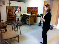 Dr January Parkos Arnall and Karl Benjamin in studio Claremont CA 2011_Photo by Jill Thayer PhD