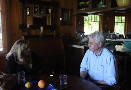 Jill Thayer interviews John Frame at his home in Wrightwood, CA. Photo courtesy of January Parkos Arnall (2011).