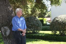 """John Frame at The Huntington Library, Art Collection, and Botanical Gardens during """"Three Fragments of A Lost Tale: Sculpture and Story by John Frame."""" Photo courtesy of January Parkos Arnall (2011)"""