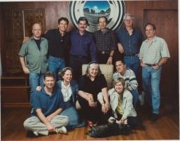 Josine Starrels with Friends, John Frame back row second from left. Photo courtesy of John Frame (c. 1990s).