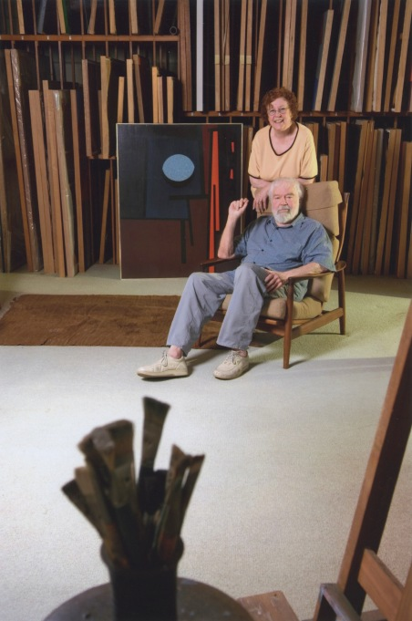 Karl and Beverly Benjamin in the studio in front of Tape Grid #27_1961 in the collection of Minneapolis Institute of Arts 2006_photo courtesy Louis Stern Fine Arts