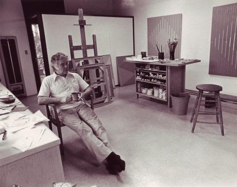 Karl Benjamin in his studio 1978_photo courtesy Louis Stern Fine Arts