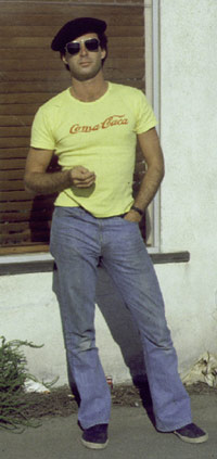 Michael Brewster outside studio at 11 Navy Street in Venice CA c 1975s