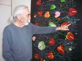 Roland Reiss with Anthurium in Space_2009_in studio at The Brewery Los Angeles_photo by Jill Thayer PhD 2011